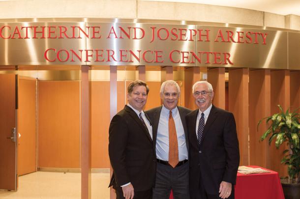 Stephen B. Gruber, director of USC Norris Comprehensive Cancer Center, with Art Ulene and Stuart Siegel.