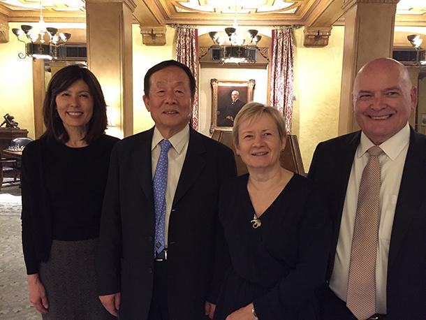 From left: Eunjoo Pacifici, PharmD, PhD, D.K. Kim, Frances Richmond, PhD, USC School of Pharmacy Interim Dean Glen L. Stimmel, PharmD.