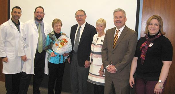 From left, Armand Dorian, David Tashman, Linda and Stephen Gill, Sue Wilder, Keith Hobbs and Jessica Thomas are seen at USC Verdugo Hills Hospital.