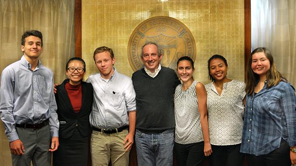From left are Joaquin Garcia, Jennifer Nguyen, Will Biederman, David B. Agus, Skylar Long, Mia Moreno and Kelly Bartlett.