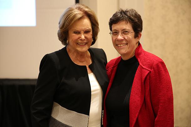 Judith D. Tamkin and Interim Dean Laura Mosqueda pose at the USC Judith D. Tamkin Symposium in Pasadena.