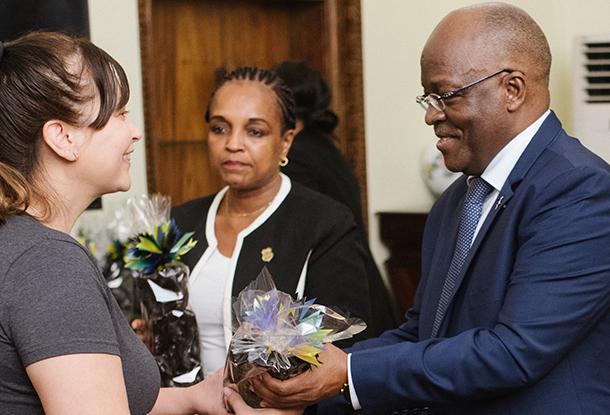 Brandy Hattendorf, left, meets Tanzania President John Magufuli.