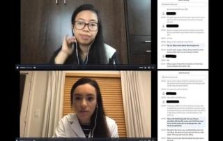 A virtual meeting screen shows two young women.