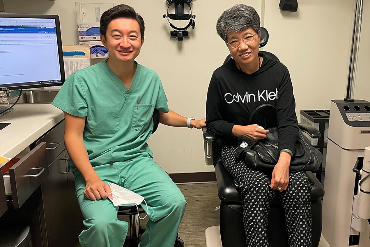 Benjamin Xu, MD, PhD, performed an emergency procedure to relieve the pressure buildup in patient Vanessa Ho's eye, saving her sight.